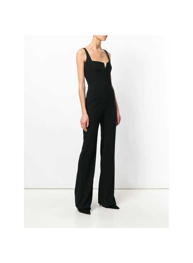 Corset V-back Jumpsuit in Black