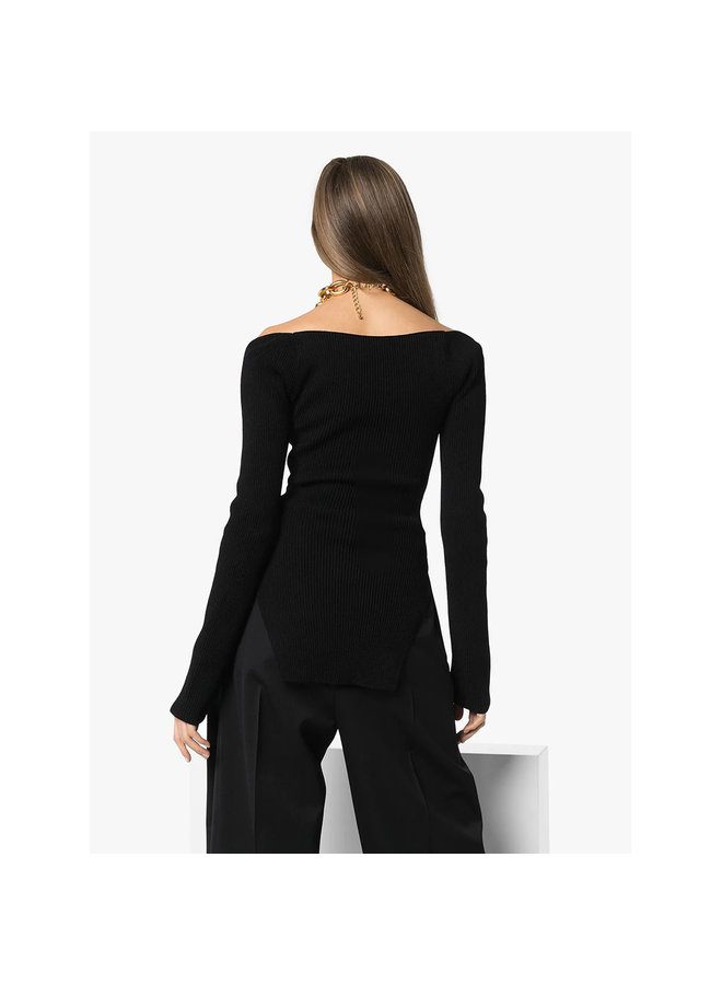 Ribbed Sweetheart Neckline Top in Viscose Blend in Black