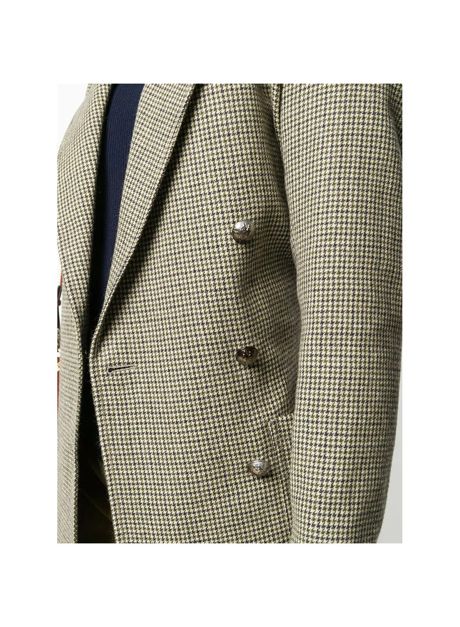 Double-breasted Coat in Cotton Blend in Beige/Green