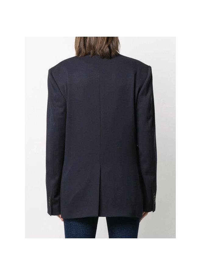 Double-breasted Blazer Jacket in Wool in Navy