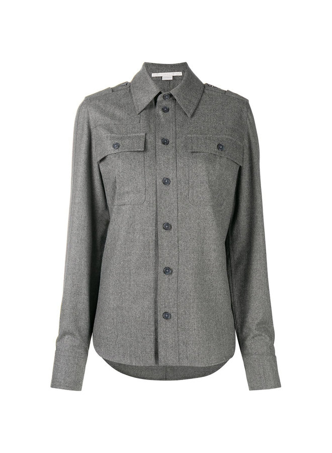 Chest Flap Pockets Shirt in Wool Blend