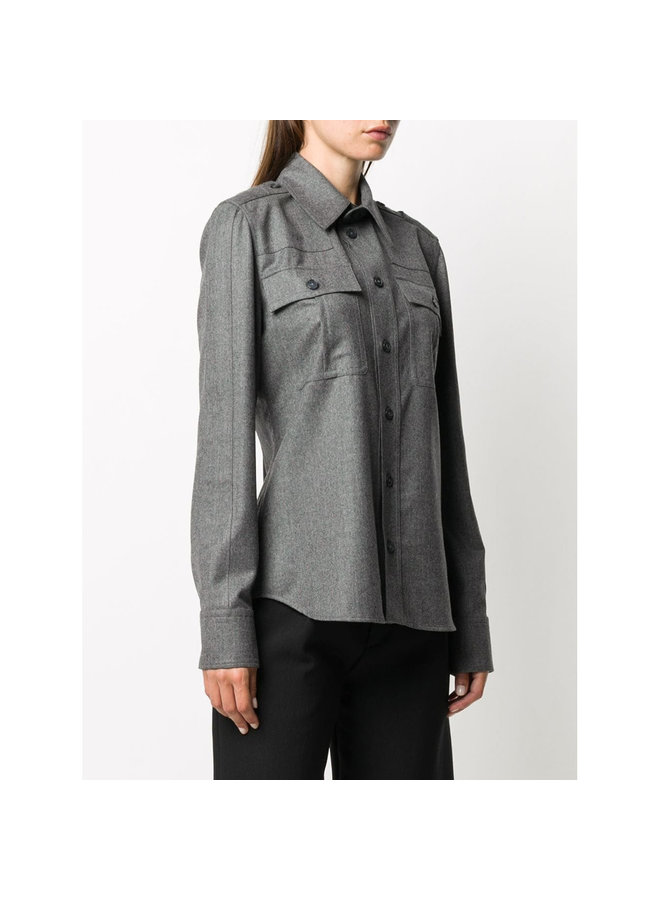 Chest Flap Pockets Shirt in Wool Blend in Melange Grey