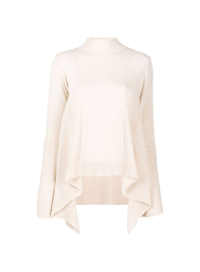Asymmetric Ribbed Knitted Jumper in Wool Blend in Nude Pink