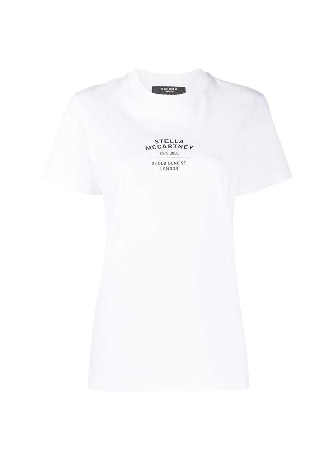 Logo Address Print T-shirt in Cotton in White
