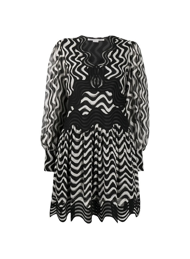 Wave-stripe Long-sleeve Silk Dress in Black and Ivory