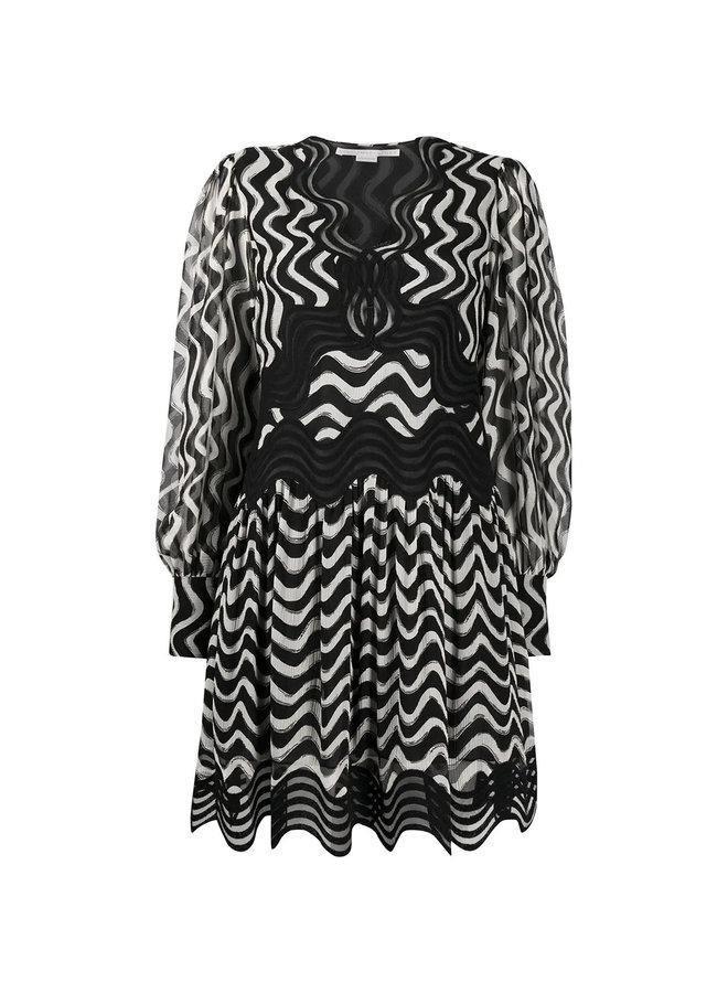 Wave-stripe Long-sleeve Silk Dress