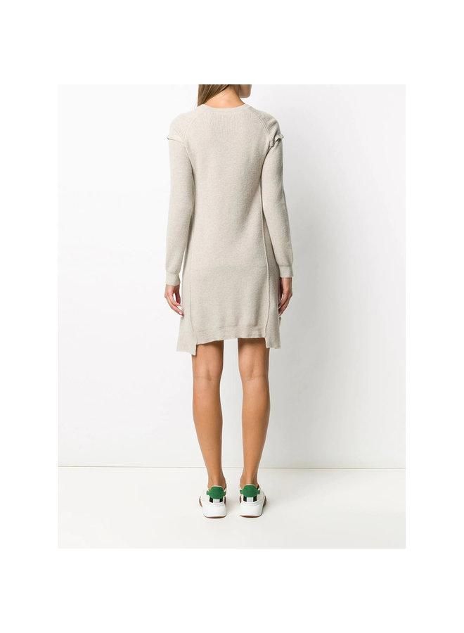 Ribbed Knitted Dress in Virgin Wool and Alpaca in Beige