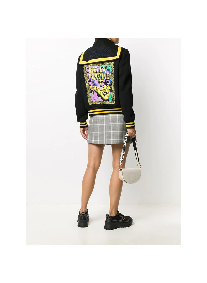 Graphic Patch Jacket in Cotton/Wool in Black