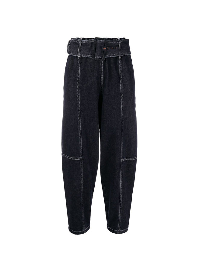 High-waisted cropped Cotton Stretch jeans in Black