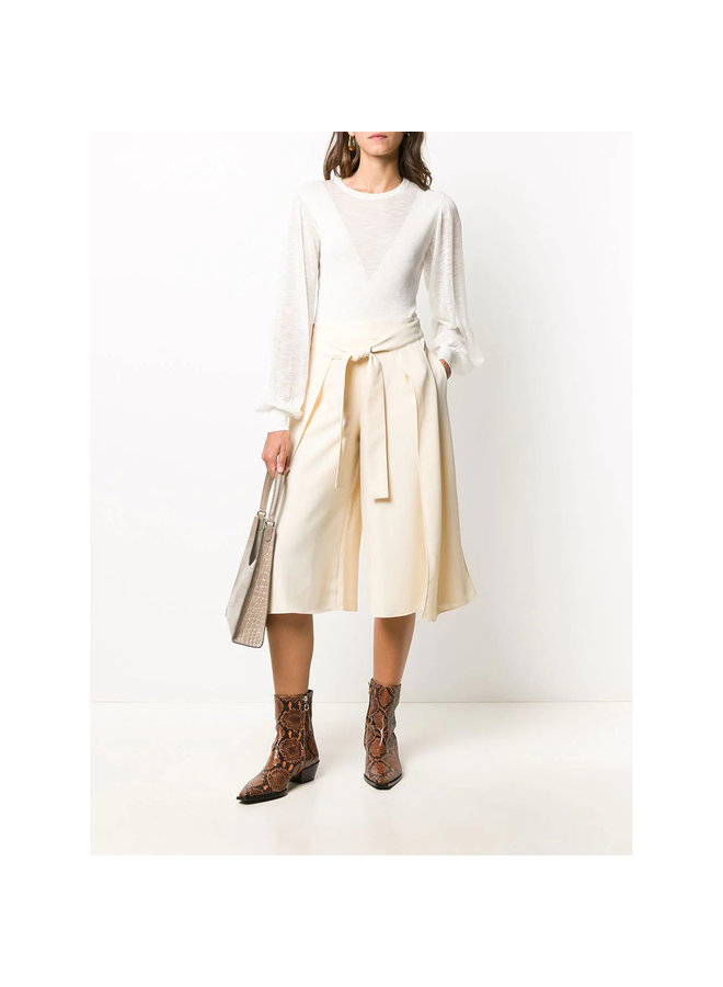Wide Leg Cropped Tailored Trousers in Beige