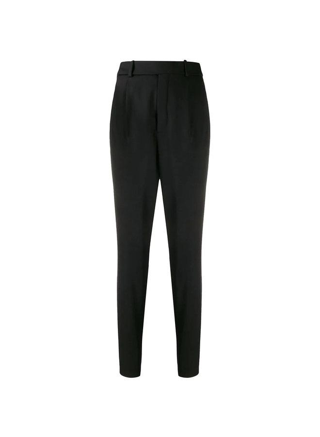 High Waist Skinny Leg Pants in Wool in Black