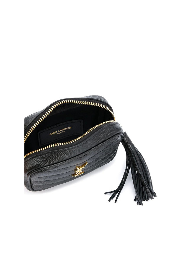 Mini Keypouch with Tassel in Leather in Black/Gold