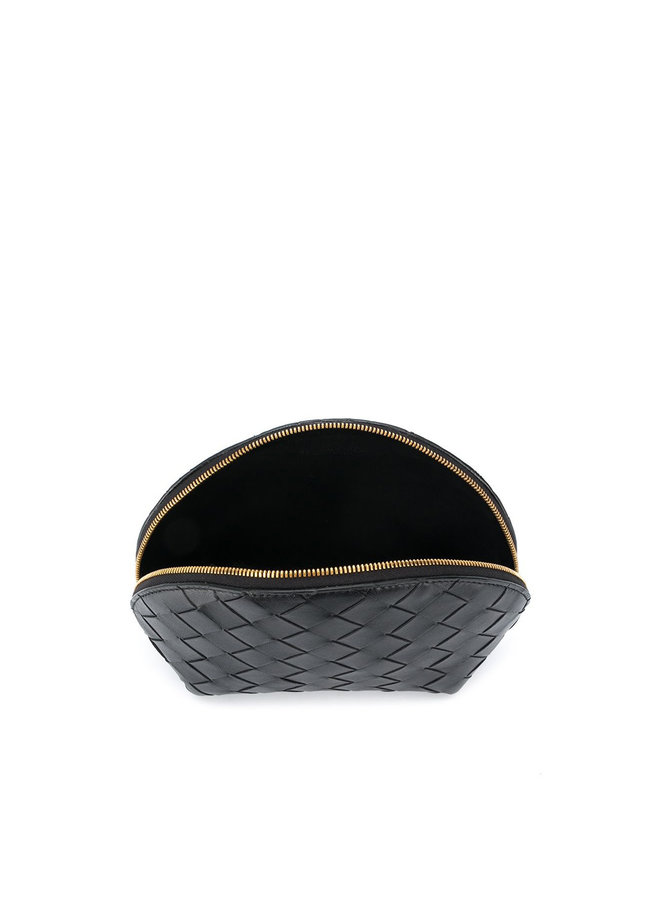 Intrecciato Weave Leather  Beauty Case  in Blk/Gld
