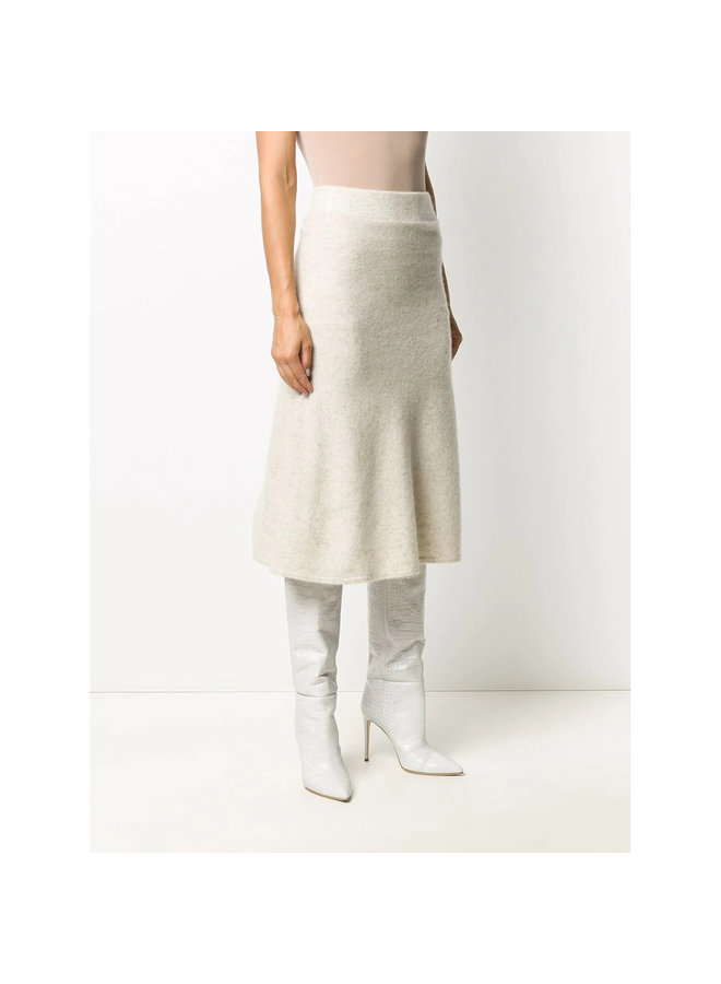 High-waist Midi Flared Skirt in Stretch Cashmere in Ivory