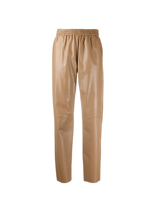 Lambskin Leather Tapered Trousers in Oak Wood/Camel