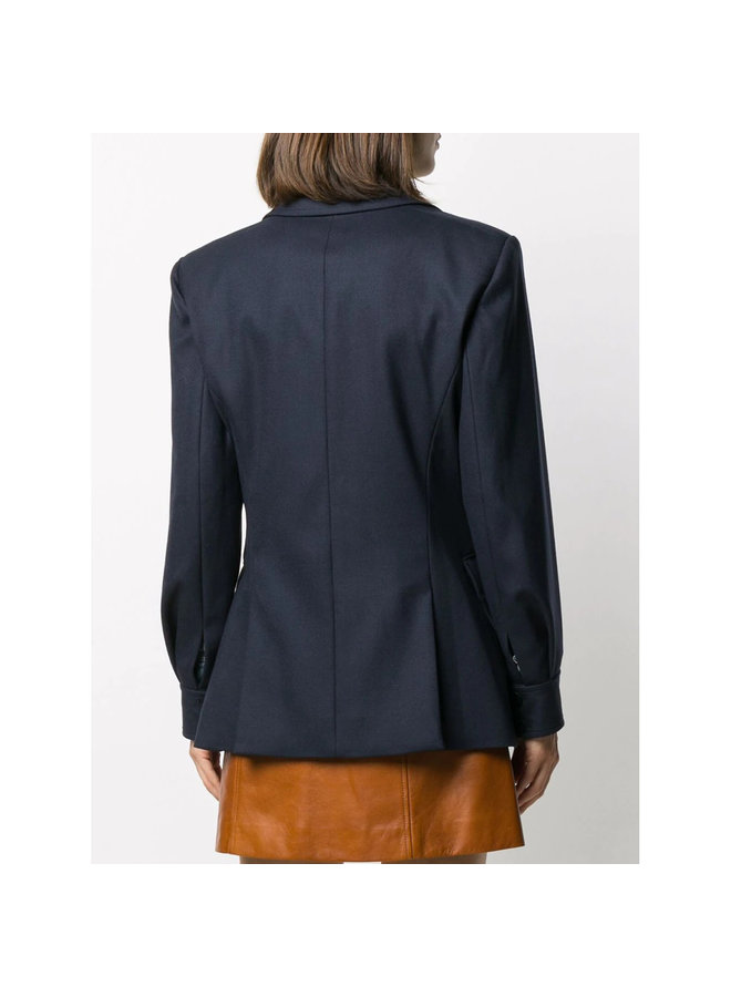 Tailored Blazer Jacket in Stretch Virgin Wool in Blue