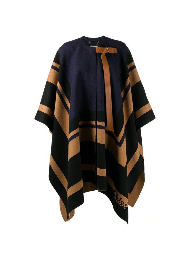 Patterned Cape in Virgin Wool in Beige/Blue