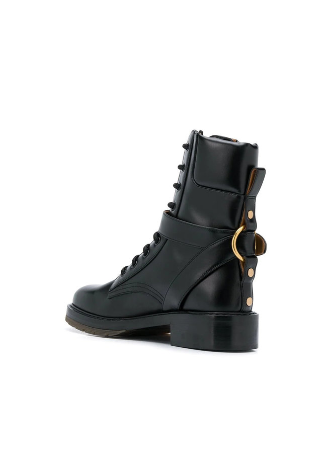 Lace-up Combat Boots in Leather Black