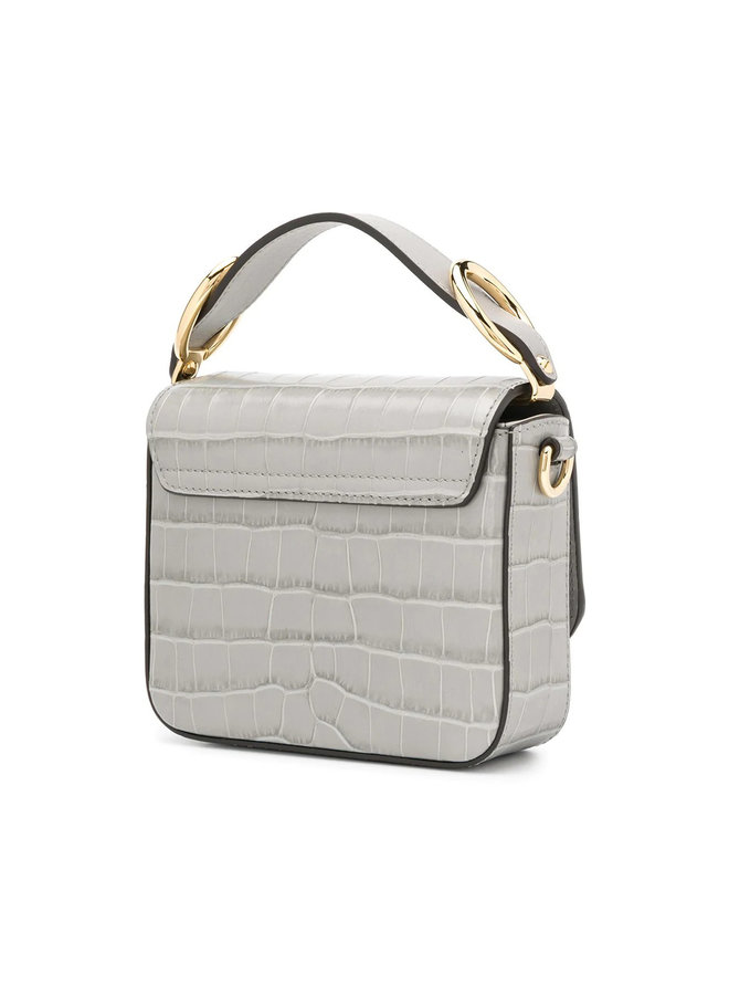 Crocodile Embossed C mini Bag in Stormy Grey