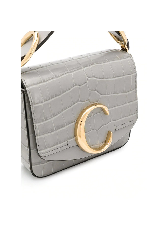 Crocodile Embossed C mini Bag in Stormy Grey