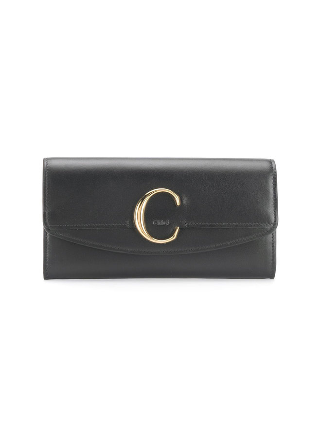 C Flap Large Wallet in Calf Leather in Black