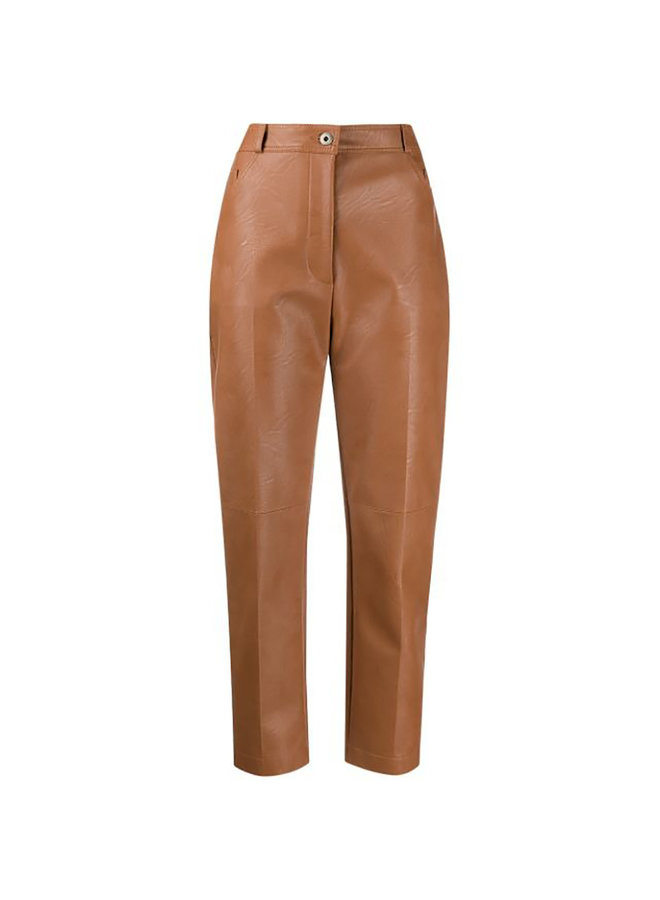 High Rise Faux-leather Trousers