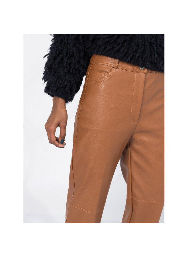 High Rise Faux-leather Trousers in Toffee Brown