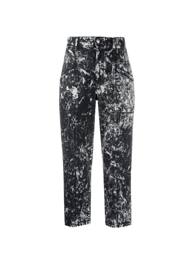 High Waist Cropped Printed Jeans
