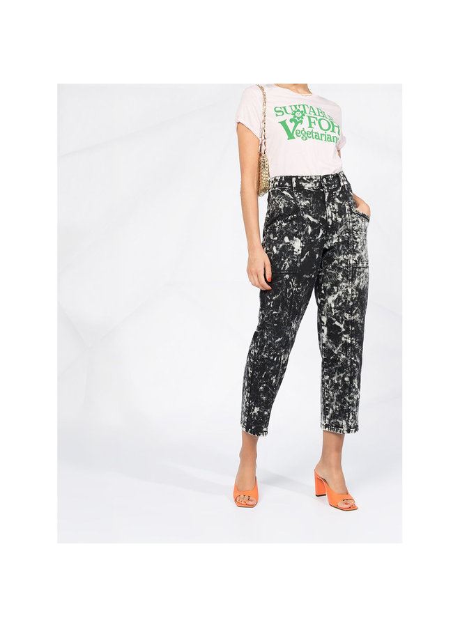 High Waist Cropped Printed Jeans in Cotton