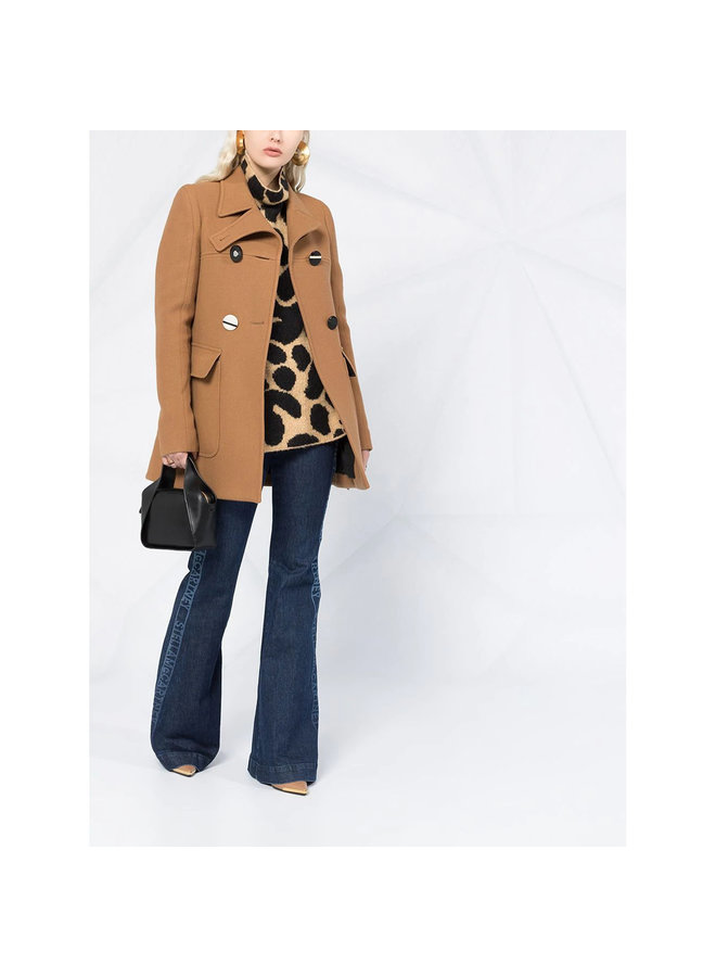 Leopard-print Wool Jumper in Camel/Black