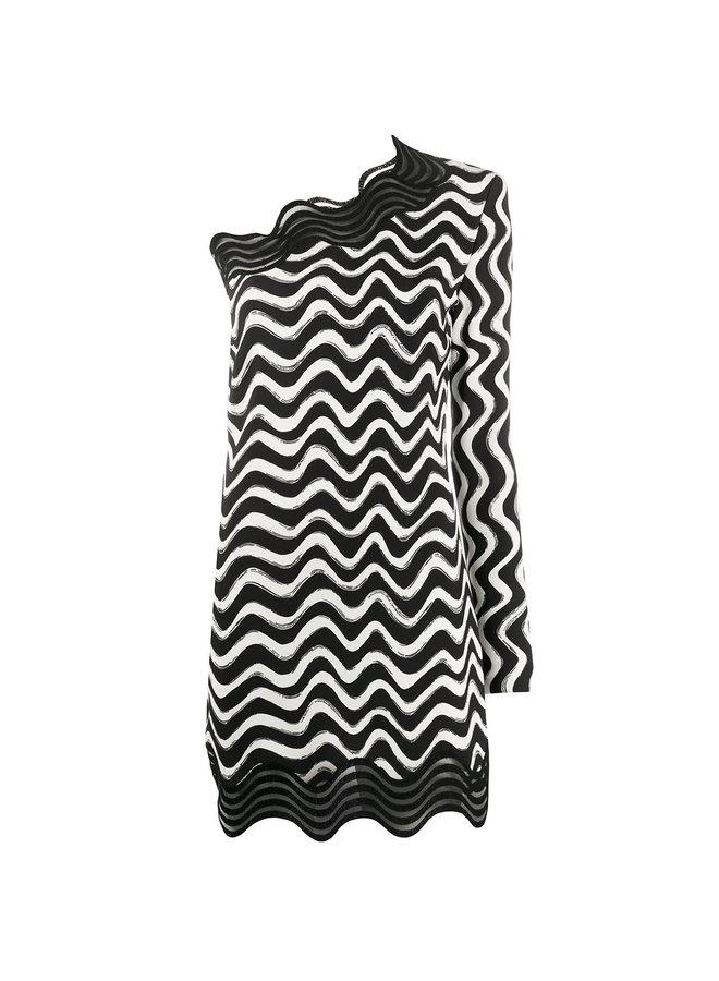 One-shoulder Swirl Print Dress