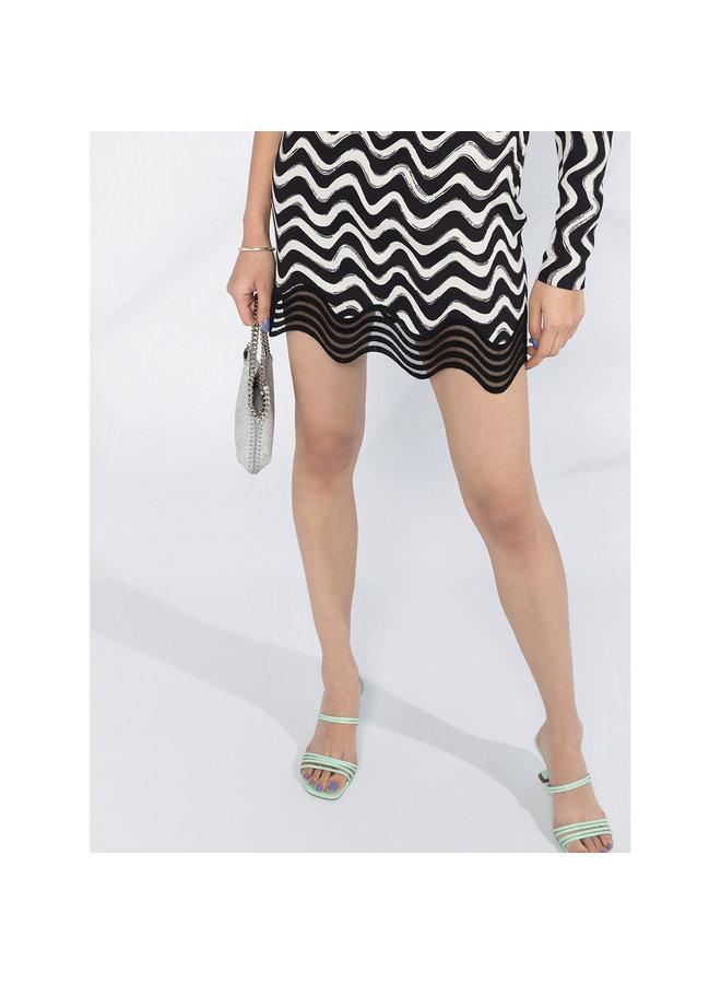 One-shoulder Swirl Print Dress in Black/Ivory