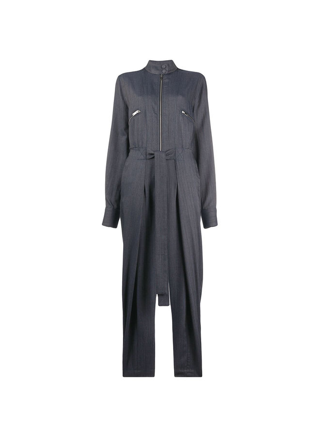 Tie-waist Denim Tapered Jumpsuit