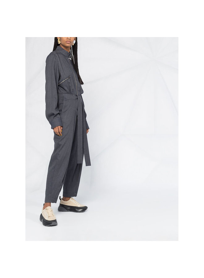 Tie-waist Denim Tapered Jumpsuit in Cotton Denim in Black