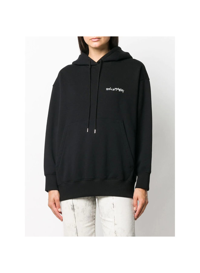 Graphic Print Logo Hoodie in Cotton in Black