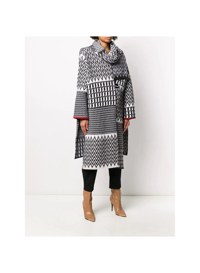Oversize Fit Coat in Cotton in Chevron Winter White