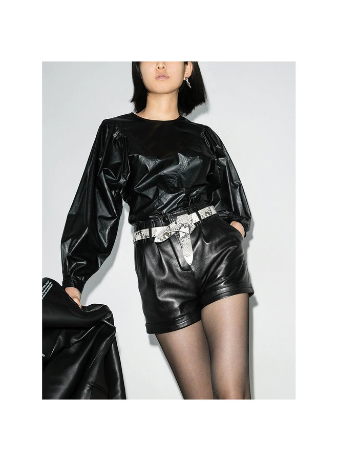 Puff Long Sleeve Blouse in Faux Leather in Black
