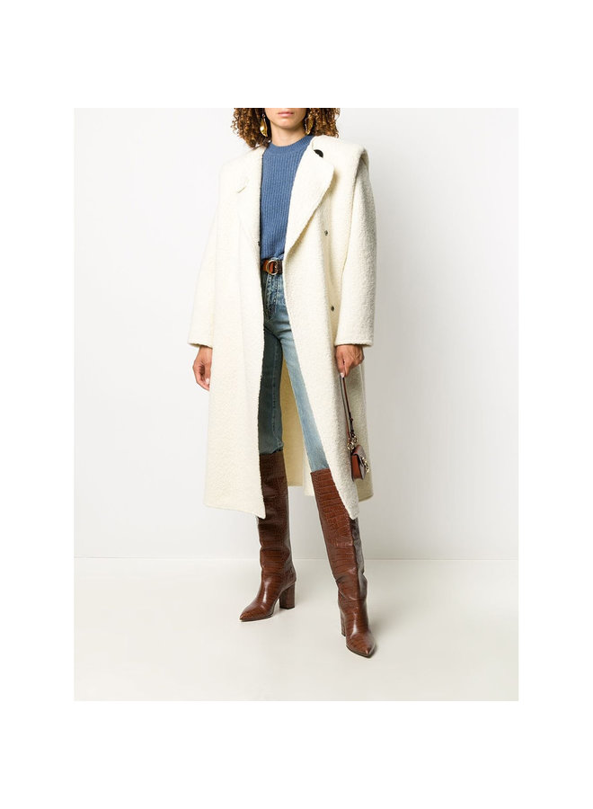 Long Coat with Padded Shoulders in Wool in Ecru