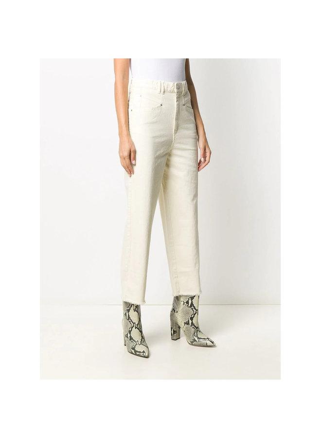 High Rise Cropped Jeans in Cotton in Ecru