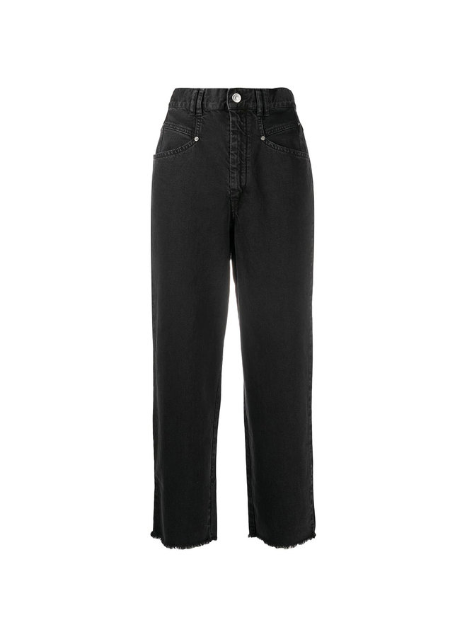 High Rise Jeans in Cotton in Black