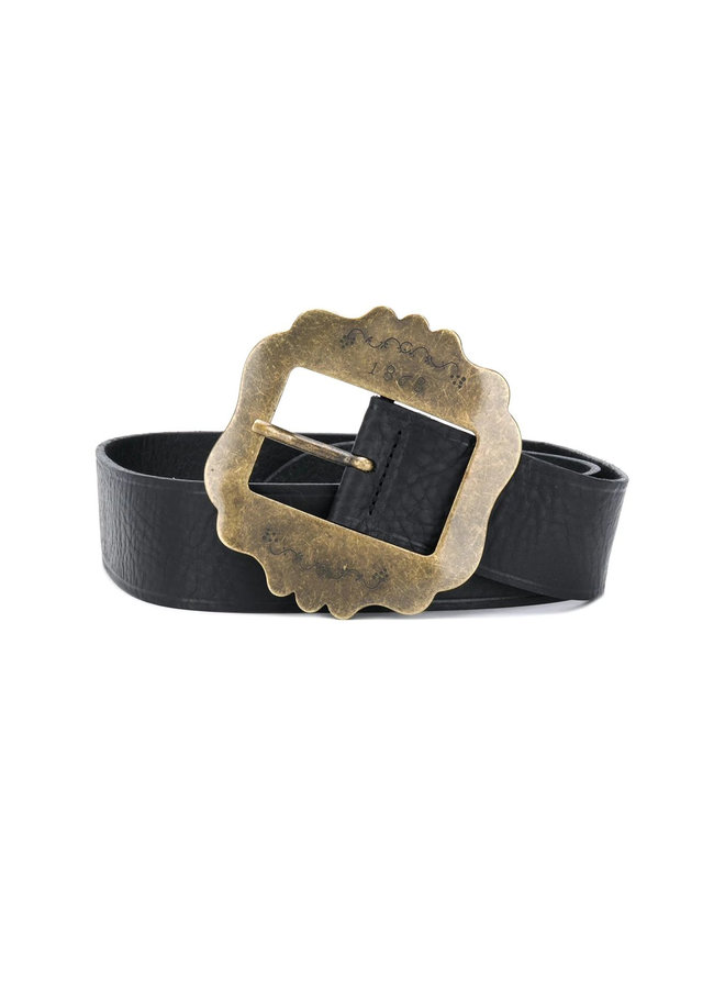Faded Buckle Belt in Leather and Brass in Black