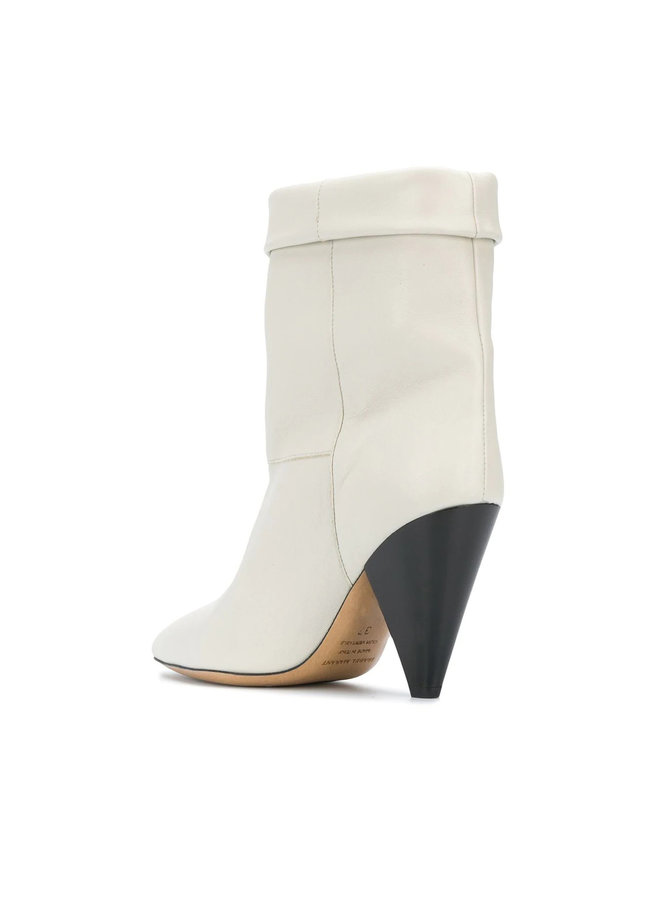 Cone Heel Ankle Boots in Leather in Ecru