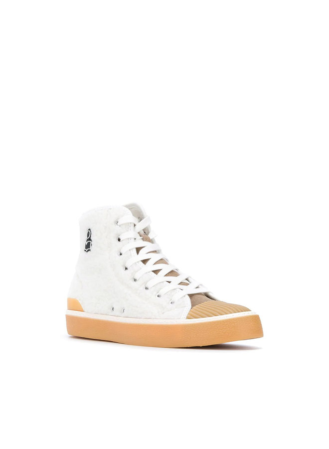 High Top Sneakers in Faux Fur in Natural