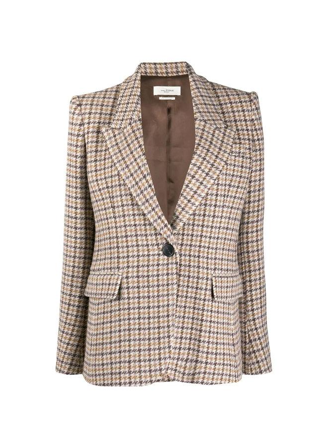 Fitted Checks Blazer Jacket in Cotton in Beige