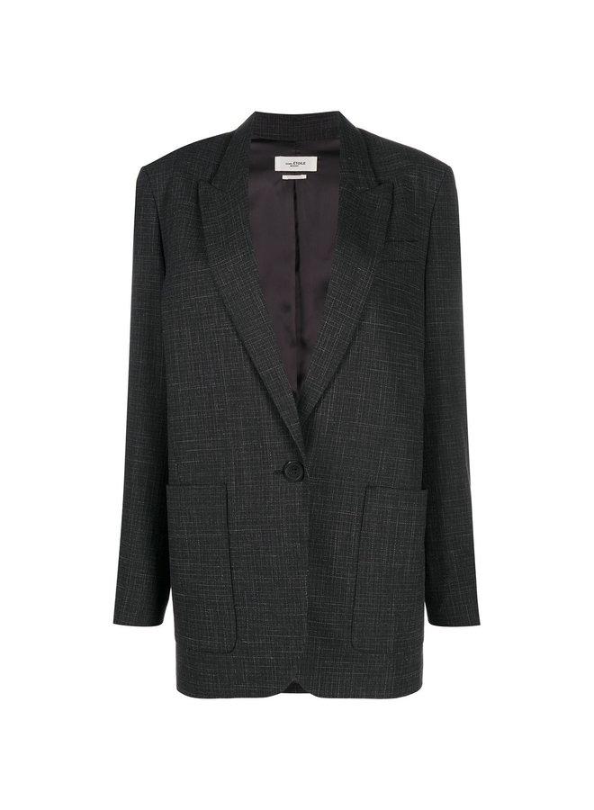 Oversized One Button Patterned Blazer Jacket