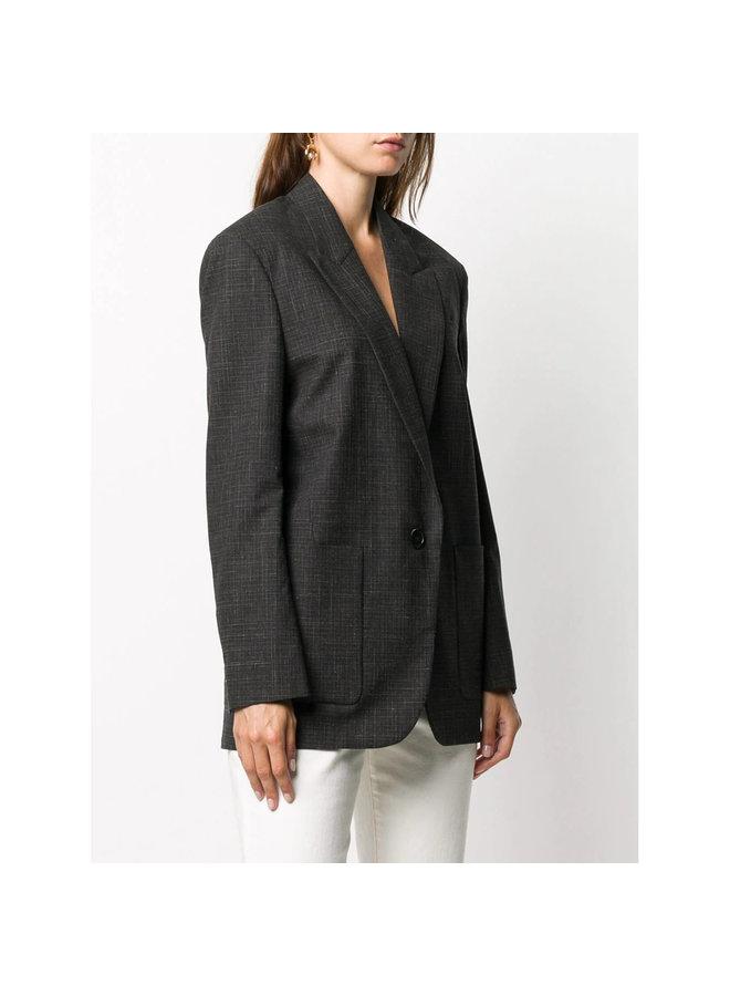 Oversized One Button Patterned Blazer Jacket in Black