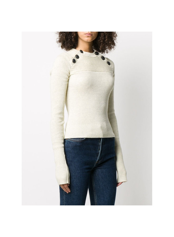 Ribbed Knitwear Top with Buttons in Light Grey