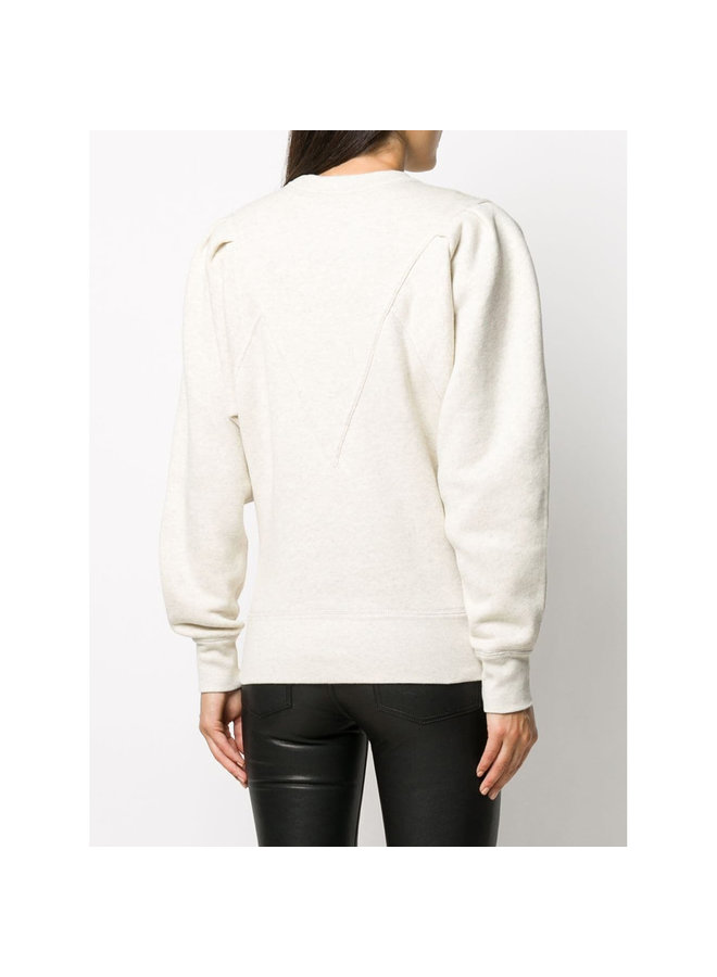 Crew Neck Jumper in Cotton in Ecru