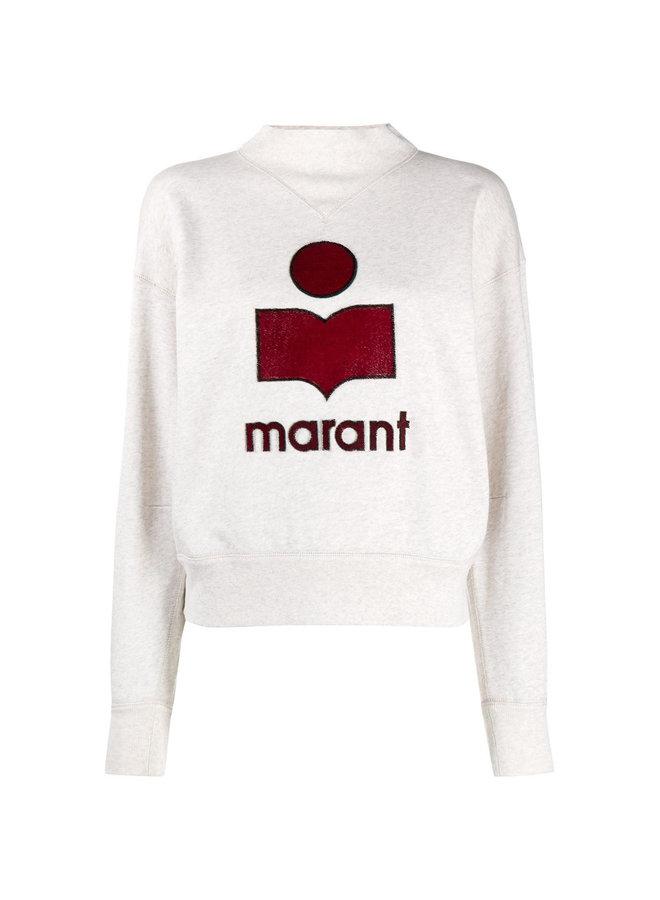 Mock Neck Logo Sweatshirt in Cotton in Ecru