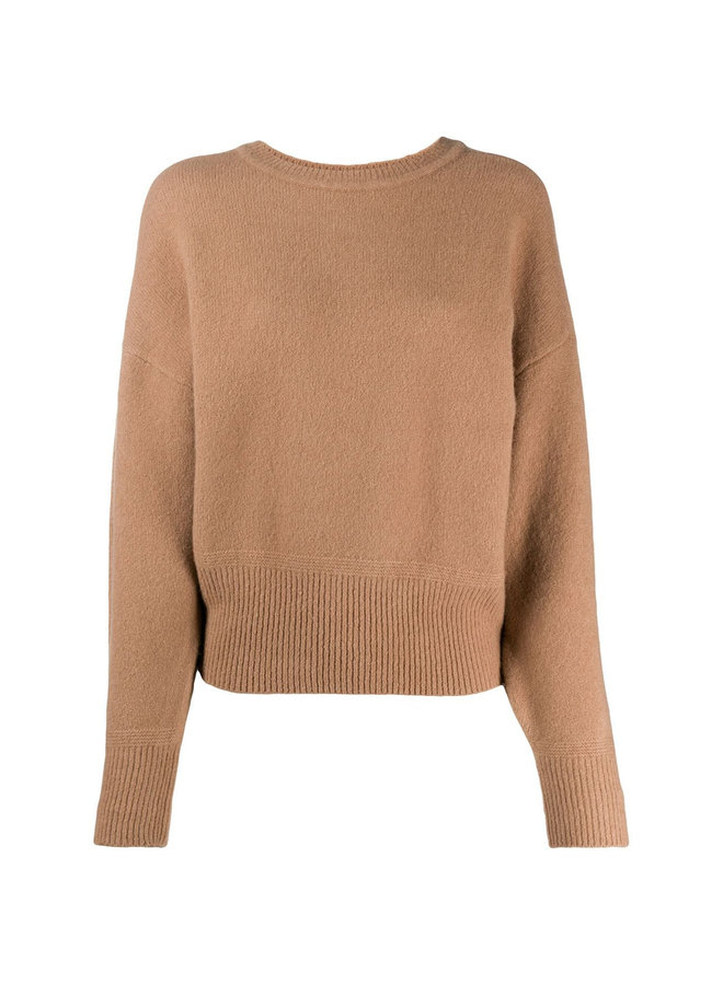 Round Neck Knitwear Top in Wool in Camel